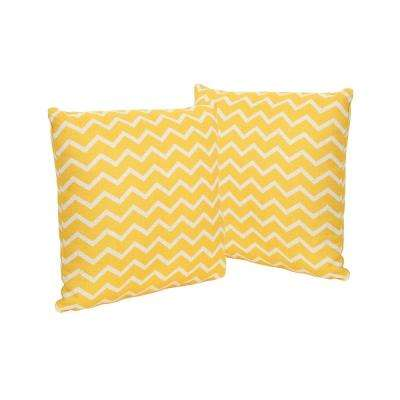 Yellow Chevron-Patterned Square Outdoor Throw Pillows (Set of 2)