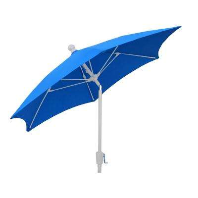 7.5 ft. Patio Umbrella with 2-Piece White Pole Tilted and Pacific Blue Canopy
