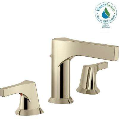 Zura 8 in. Widespread 2-Handle Bathroom Faucet with Metal Drain Assembly in Polished Nickel