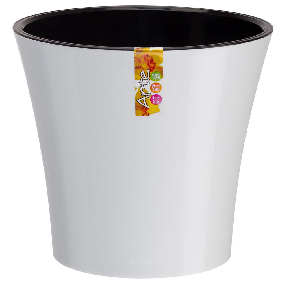 Arte 5.3 in. White/Black Plastic Self Watering Planter