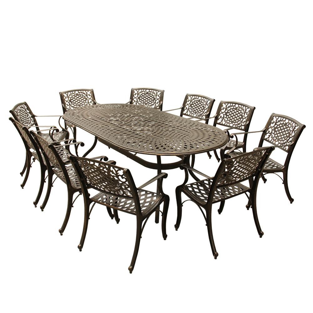 Contemporary Modern 11-Piece Bronze Aluminum Oval Outdoor Dining Set with