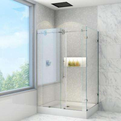 Winslow 48.125 in. x 79.875 in. Frameless Bypass Shower Enclosure in Stainless Steel and Clear Glass with Left Base