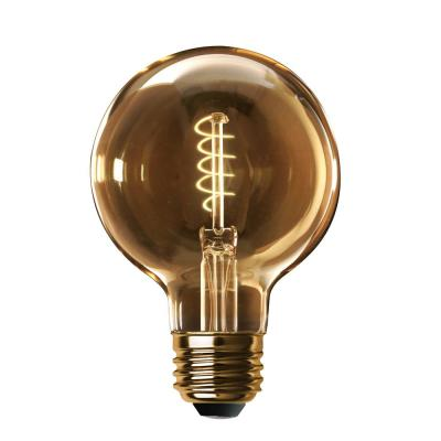60-Watt Equivalent G40 Dimmable LED Amber Glass Vintage Edison Light Bulb with Spiral Filament Soft White (2-Pack)