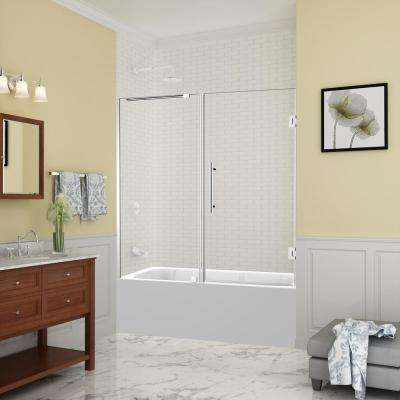 Belmore 59.25 in. to 60.25 in. x 60 in. Frameless Hinged Tub Door in Chrome