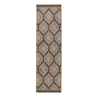 Taurus Dark Khaki Cream 2 ft. x 7 ft. Indoor Runner Rug