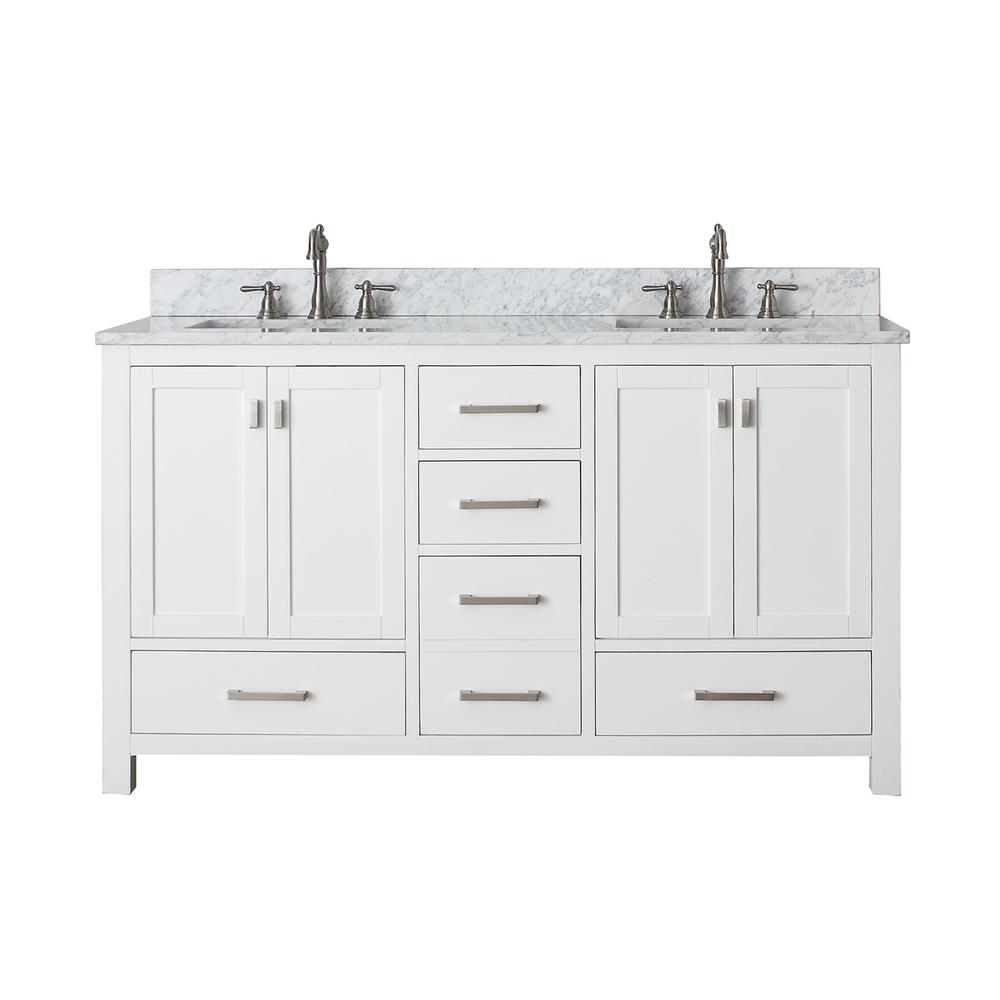 Avanity Modero 61 in. W x 22 in. D x 35 in. H Vanity in White with Marble Vanity Top in Carrera White and White Basins