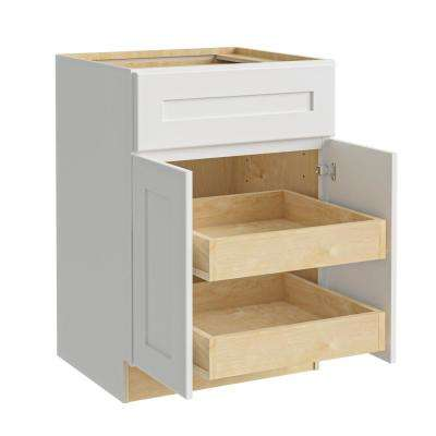 Newport Assembled 24x34.5x24 in. Plywood Shaker Base Kitchen Cabinet 2 rollouts Soft Close in Painted Pacific White