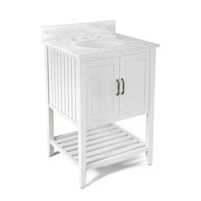 Bennett 25 in. W x 22 in. D Vanity in White with Marble Vanity Top in White with White Basin