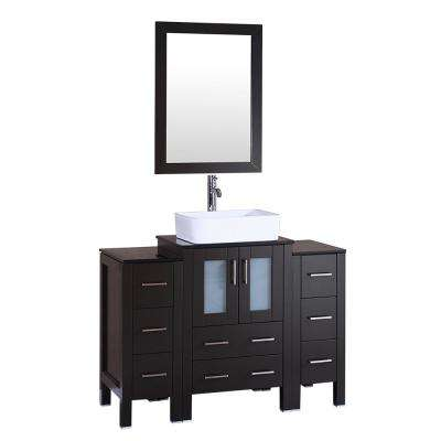 48 in. W Single Bath Vanity with Tempered Glass Vanity Top in Black with White Basin and Mirror