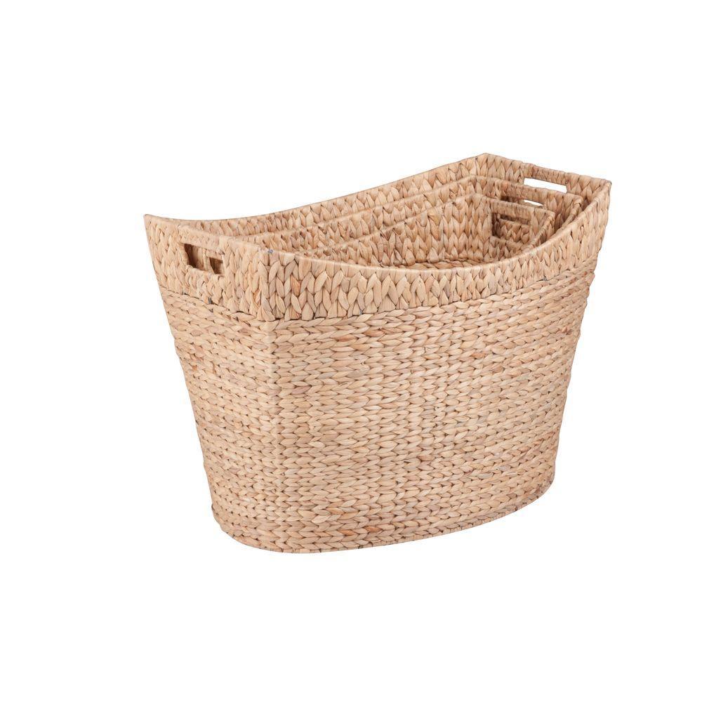 Honey-Can-Do Tall Water Hyacinth Basket Set (3-Piece)