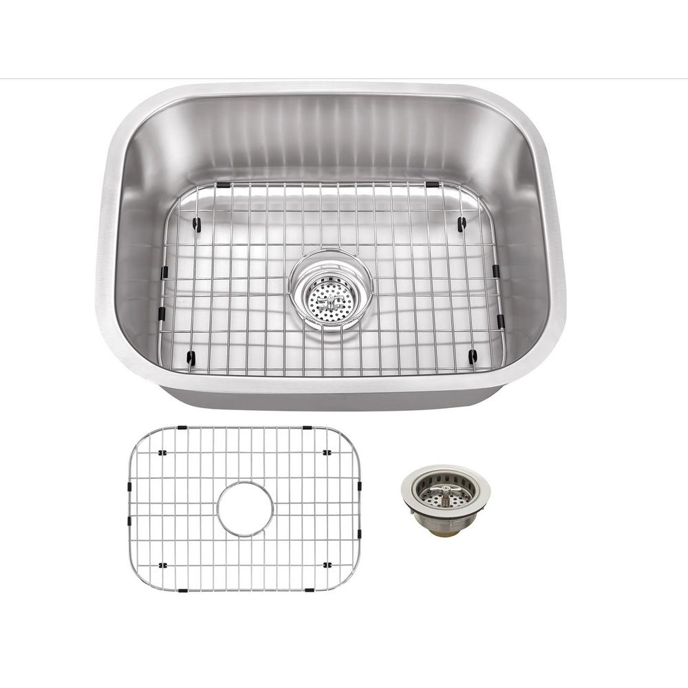 IPT Sink Company 18 Gauge Undermount Stainless Steel 23.4375 in. 0-Hole Bar Single Bowl Kitchen Sink in Brushed Stainless, Brushed Satin was $173.75 now $119.0 (32.0% off)