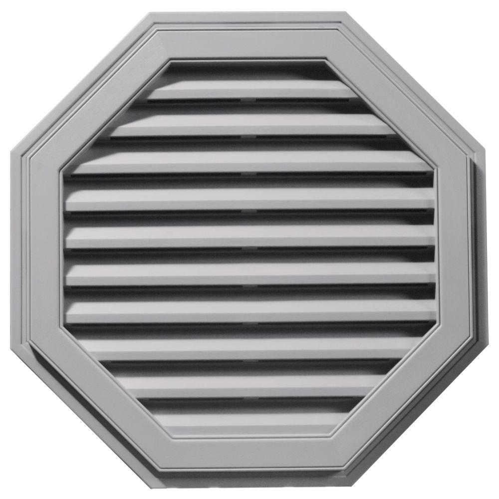 Builders Edge 32 in. Octagon Gable Vent in Gray
