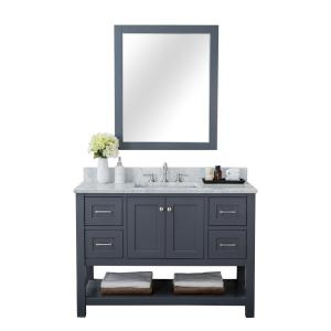Alya Bath Wilmington 48 in  W x 34 2 in  H x 22 in  D Bath Vanity in Gray  with Marble Vanity Top in White with White Basin-HE-102-48-G-CWMT - The  Home
