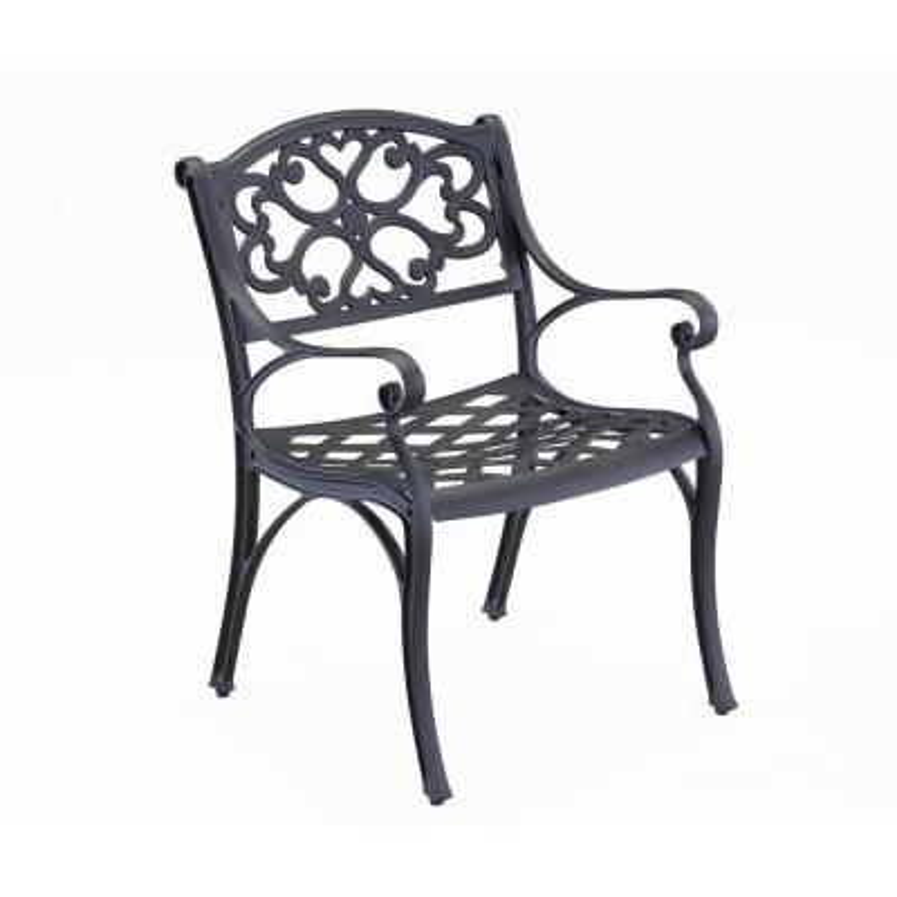Sanibel Black Stationary Cast Aluminum Outdoor Dining Chair (2-Pack)