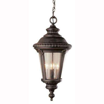 Breeze Way 1-Light Outdoor Hanging Rust Lantern with Seeded Glass