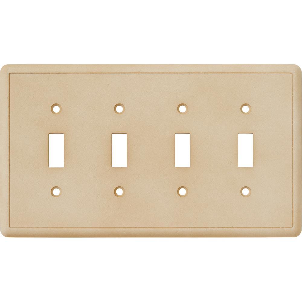 4-Toggle Wall Plate, Travertine