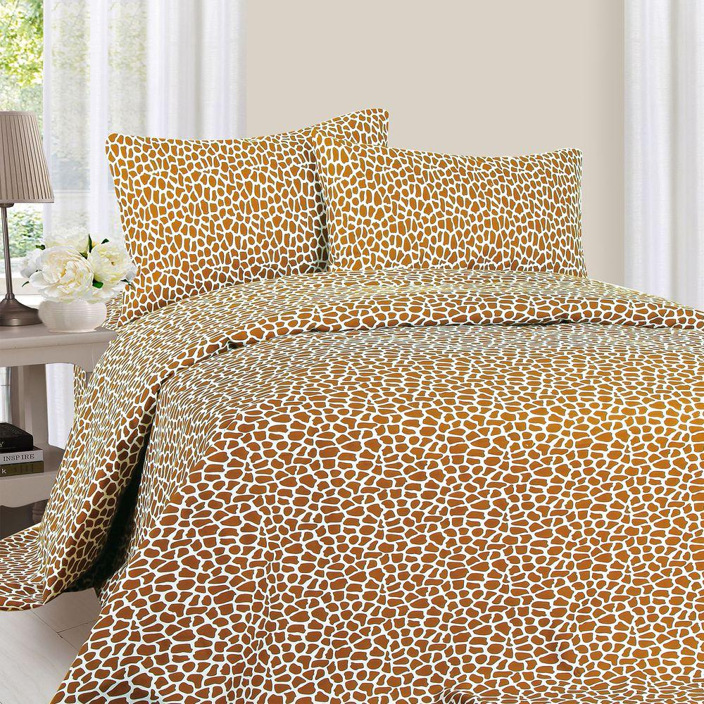1200 Series 4-Piece Giraffe 75 GSM King Microfiber Sheet Set