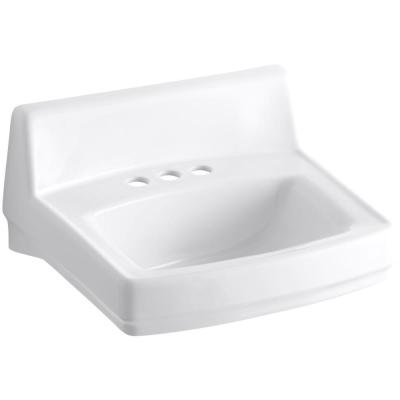 Greenwich Wall-Mounted Vitreous China Bathroom Sink in White with Overflow Drain
