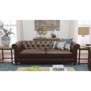 Internet #203195558. +13. Home Decorators Collection Gordon Brown Leather  Sofa