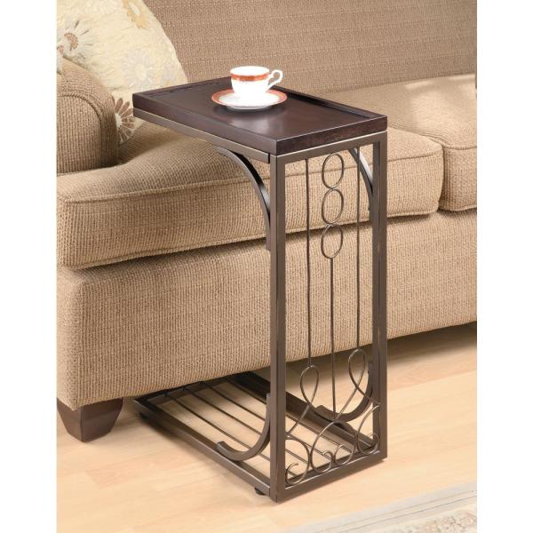 Brown and Burnished Copper Snack Table