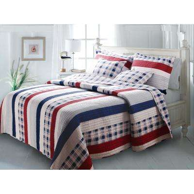 Nautical Stripe 3-Piece Multi King Quilt Set