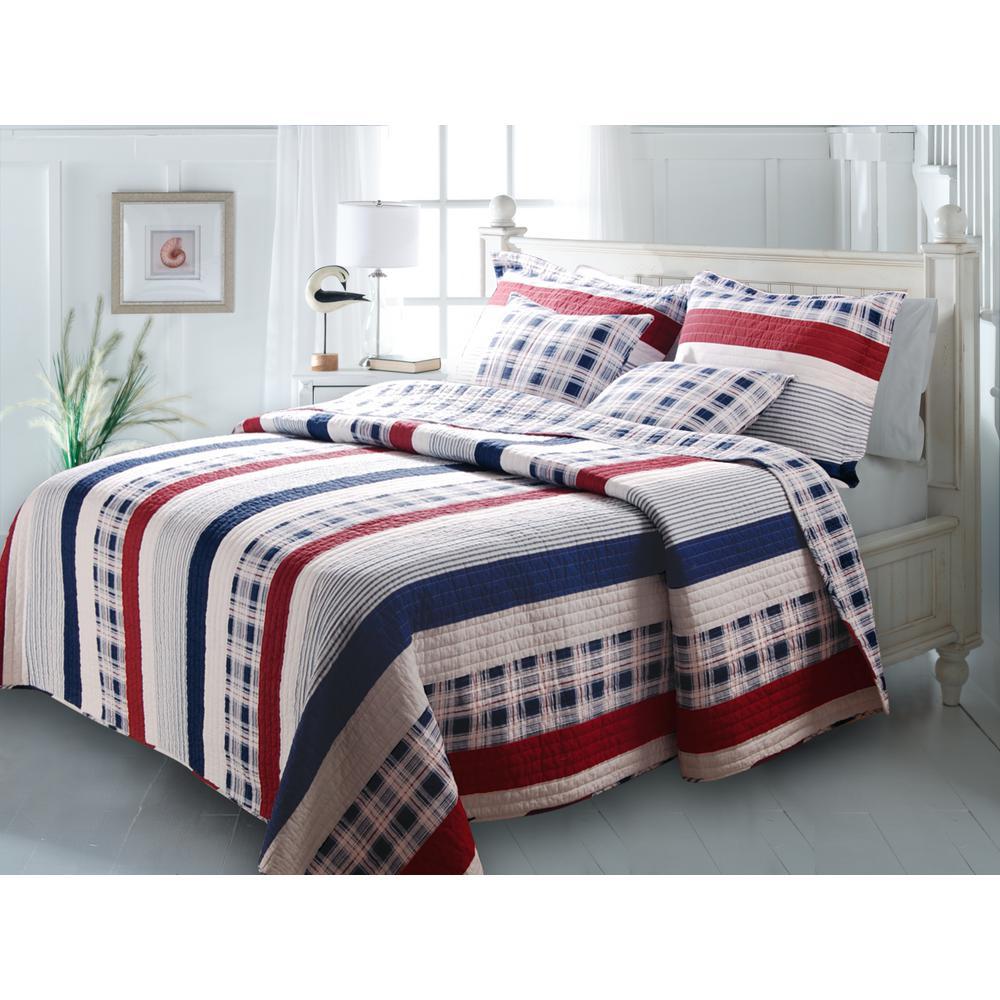 Nautical Stripe 3-Piece Multi Full and Queen Quilt Set