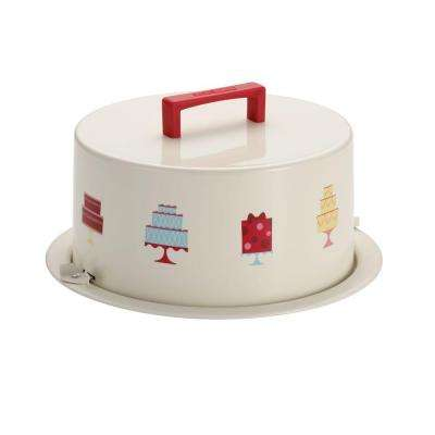 Serveware Metal Cream Cake Carrier with Mini Cakes