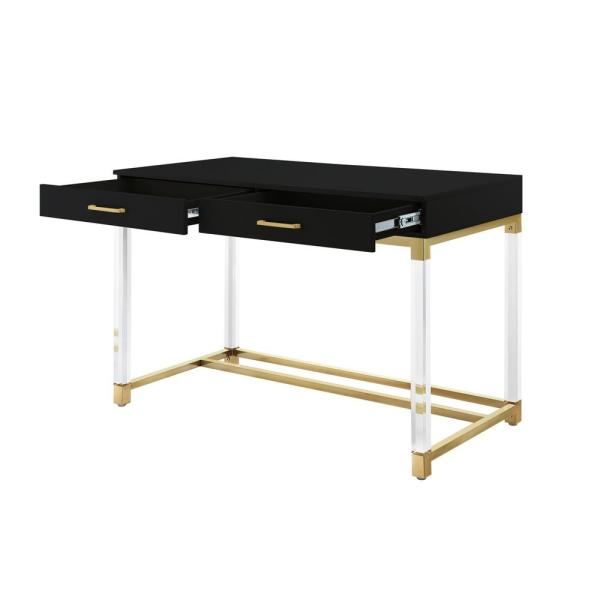 Black Gold Writing Desk With High Gloss