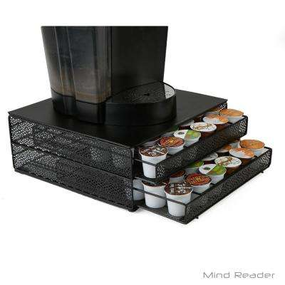 72-Capacity Black Double K-Cup Storage Tray with Flower Pattern Metal Mesh