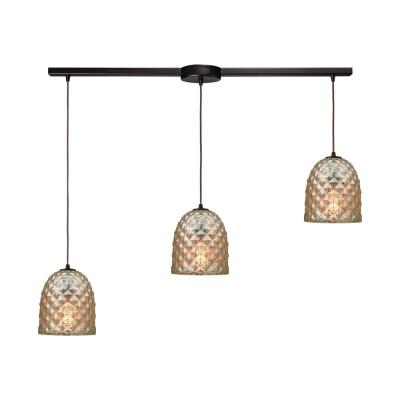Brimley 3-Light Linear Bar in Oil Rubbed Bronze with Raised Diamond Texture Mercury Glass Pendant