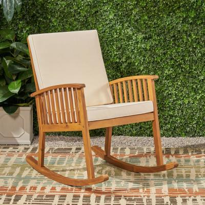 Casa Brown Patina Wood Outdoor Rocking Chair with Cream Cushions
