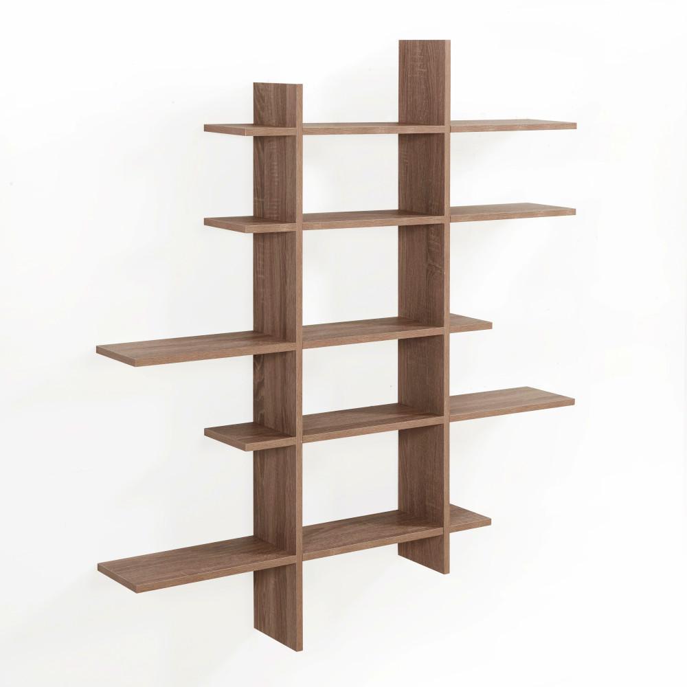 Weathered Oak Mdf 5 Level Asymmetric Floating Shelf