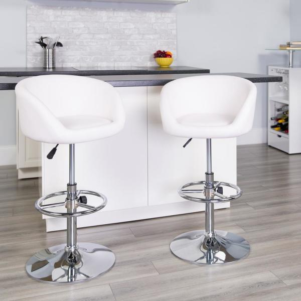 Flash Furniture 32 in. Adjustable Height White Cushioned Bar Stool CHTC31066LWH