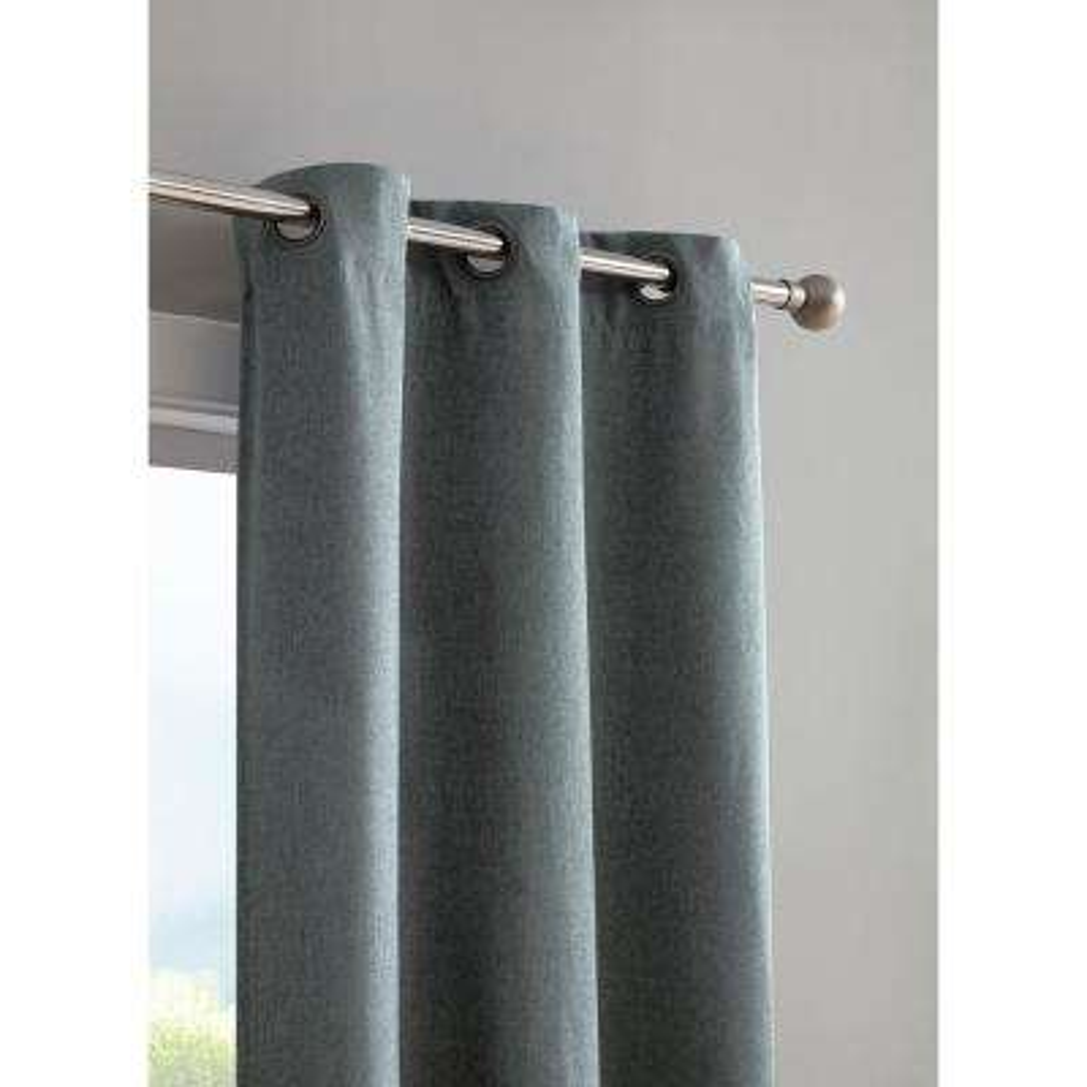 Henley Faux Linen Room Darkening 76 in. x 96 in. Grommet Curtain Panel Pair in Dusty Blue