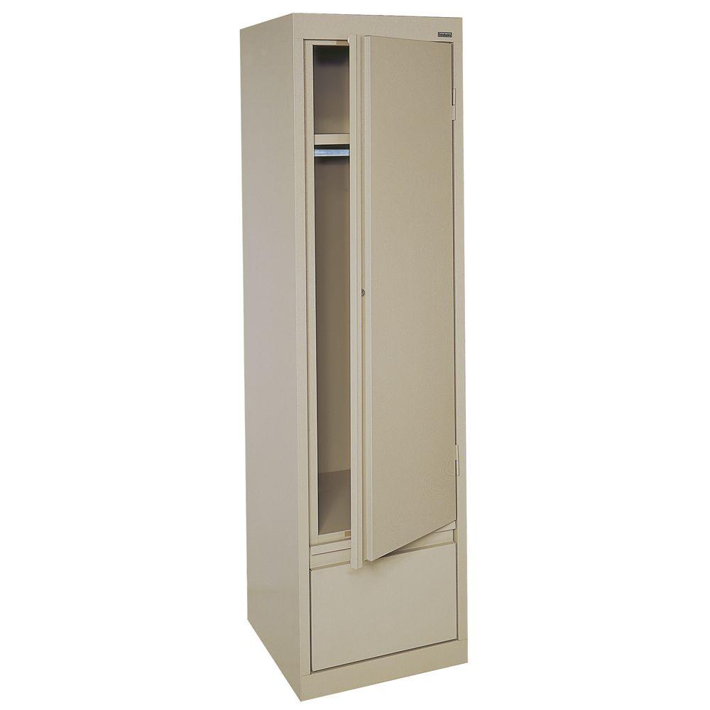 half off 8bb31 fd5de Sandusky System Series 17 in. W x 64 in. H x 18 in. D Single Door Wardrobe  Cabinet with File Drawer in Tropic Sand