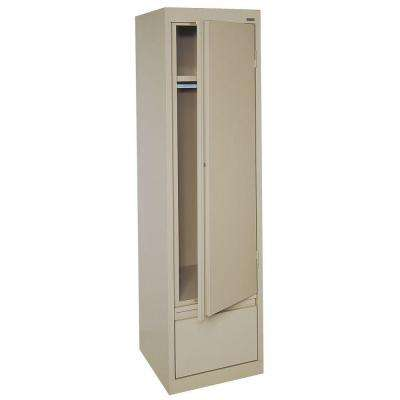 System Series 17 in. W x 64 in. H x 18 in. D Single Door Wardrobe Cabinet with File Drawer in Tropic Sand