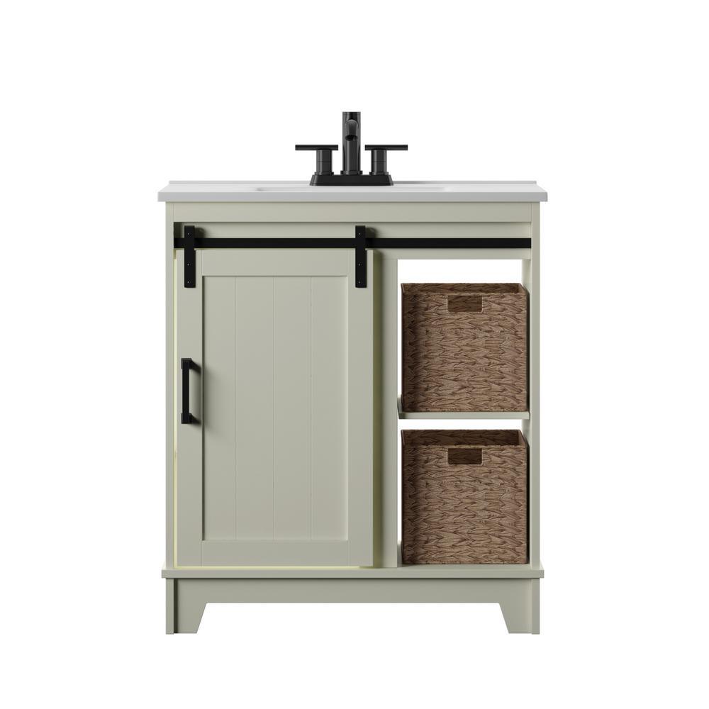 30 in. D x 18 in. W x 34 in. Barn Door Bath Vanity in White w/ Vanity Top in White and White Basin