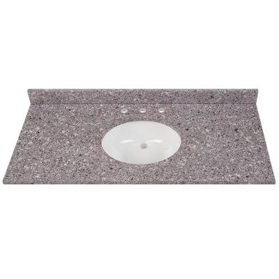 49 in. W x 22 in. D Stone Effects Vanity Top in Mineral Gray with White Sink