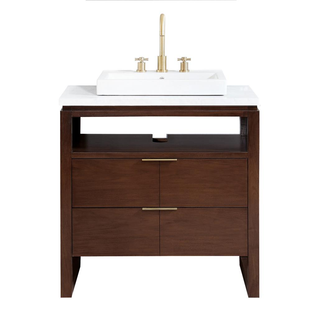 Avanity Giselle 33 in. W x 22 in. D x 35 in. H Bath Vanity in Walnut with Marble Vanity Top in Carrara White with Semi-Recessed