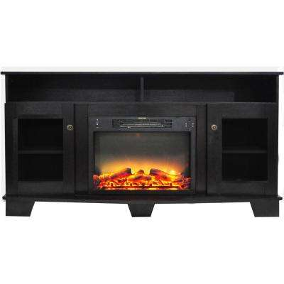 Glenwood 59 in. Electric Fireplace in Black Coffee with Entertainment Stand and Enhanced Log Display