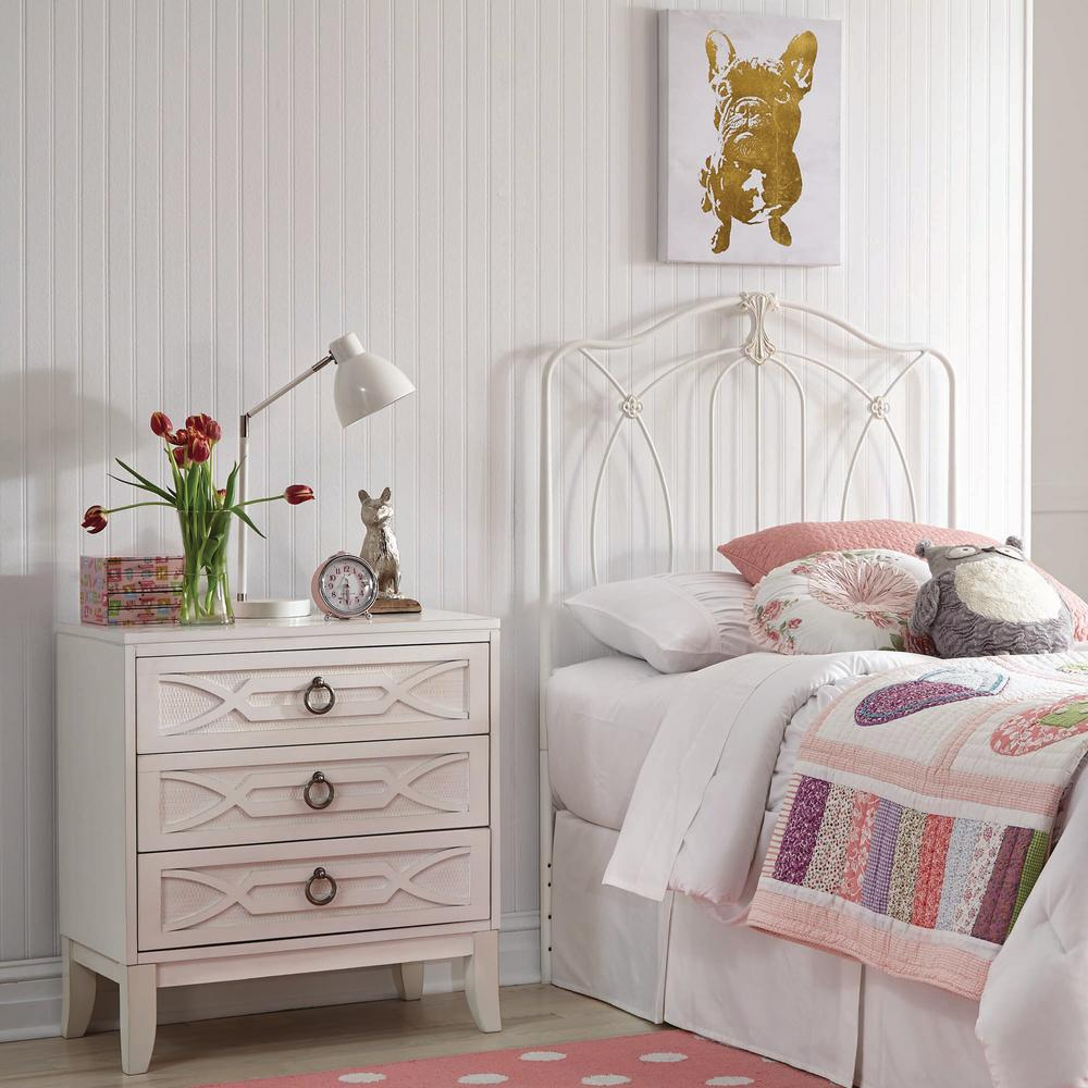 Kaylin Soft White Twin Headboard and Footboard with Metal Duo Panels