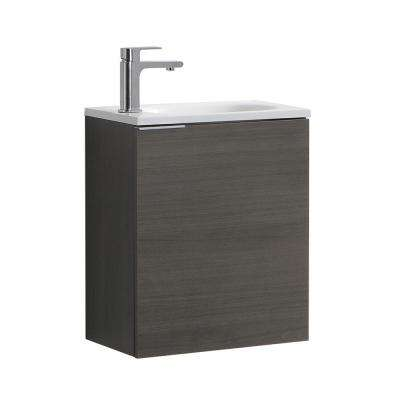 Valencia 20 in. W Wall Hung Bathroom Vanity in Gray Oak with Acrylic Vanity Top in White