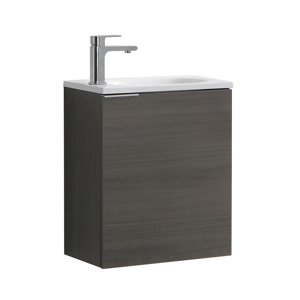 Good Fresca Valencia 20 In. W Wall Hung Bathroom Vanity In Gray Oak With Acrylic  Vanity
