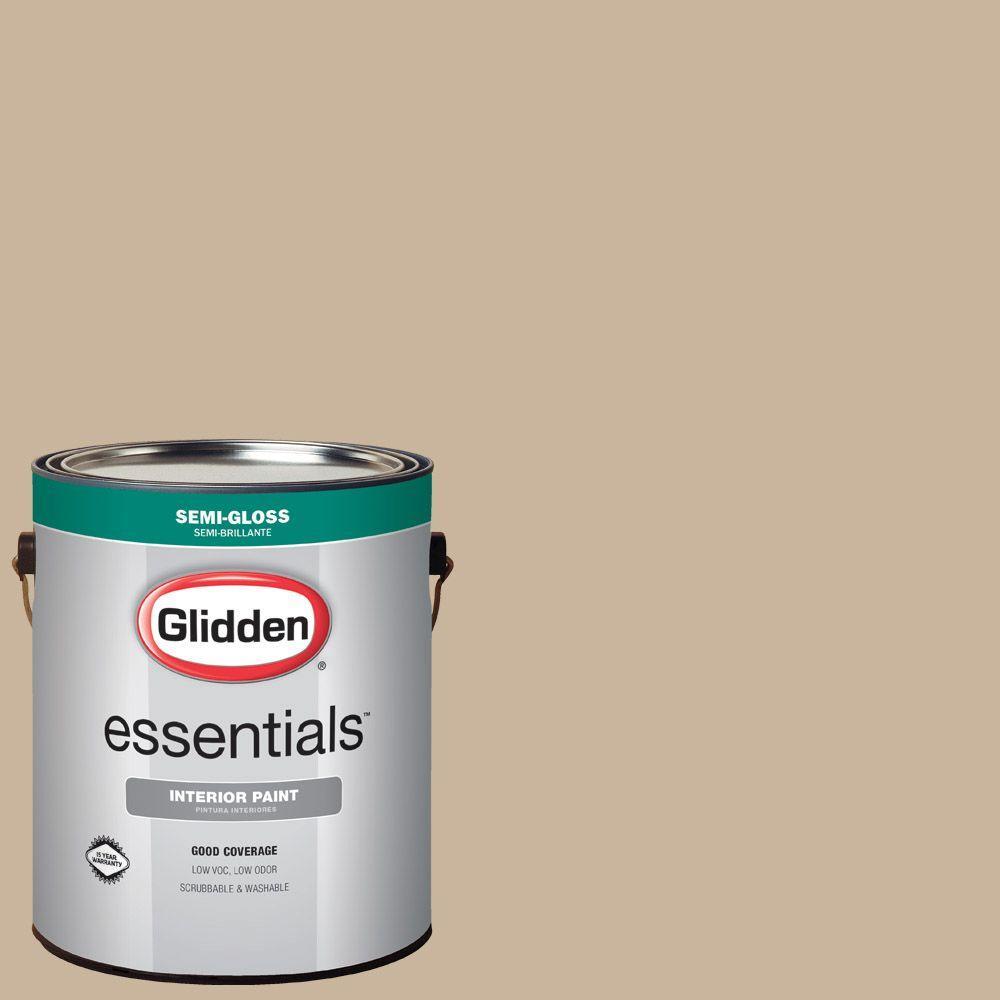 Glidden Essentials 1 Gal Hdgwn33u Traditional Tan Semi Gloss Interior Paint