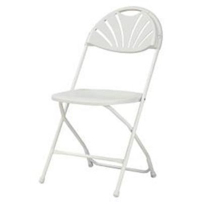 Commercial Heavy Duty Fan Back Resin Folding Chair with Comfortable Contoured Back in White (8-Pack)
