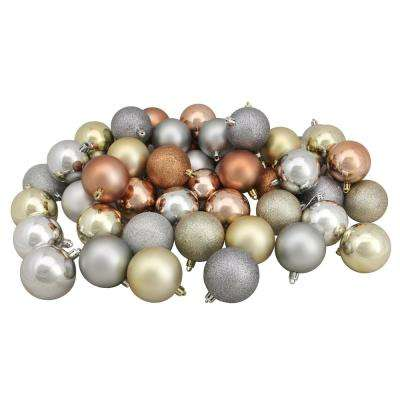 2.5 in. Silver/Champagne/Almond/Pewter Shatterproof 3-Finishes Christmas Ball Ornaments (60-Count)