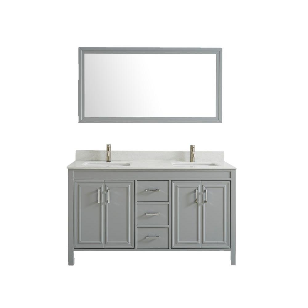 Studio Bathe Dawlish 60 in. W x 22 in. D Vanity in Oxford Gray with Solid Surface Vanity Top in White with White Basins and Mirror