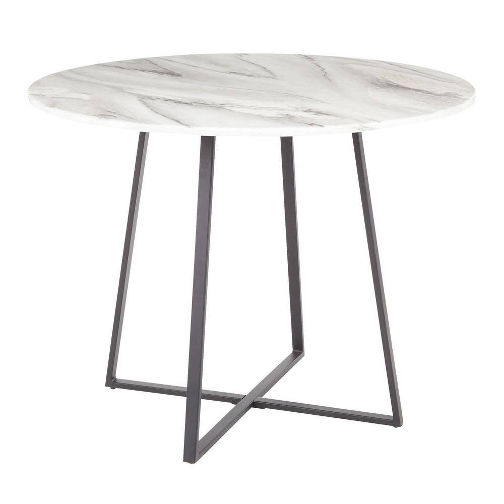 Very Elegant Marble Top Dining Table Lumisource Cosmo Round Dining Table in Black with White Marble Top  DT-COSMO2 BKWMB - The Home Depot