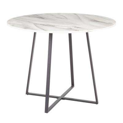 Cosmo Round Dining Table in Black with White Marble Top
