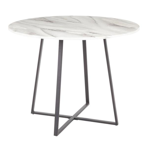 Lumisource Cosmo Round Dining Table In Black With White Marble Top Dt Cosmo2 Bkwmb The Home Depot